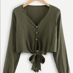 Tops - NWOT Olive Button Down Crop Top